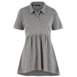 Shirt polo, fason o linii A, krótki rękaw bonprix szary melanż