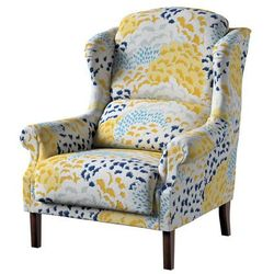 Dekoria Fotel Unique, żółto-szaro-niebieskie motywy roślinne, 85×107cm, Brooklyn