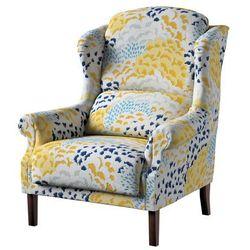Dekoria Fotel Unique, żółto-szaro-niebieskie motywy roślinne, 85 × 107 cm, Brooklyn