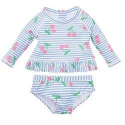Koszula niemowlęca kąpielowa + figi kąpielowe dziewczęce z ochroną przed promieniowaniem słonecznym (2 części) bonprix niebiesko-biały