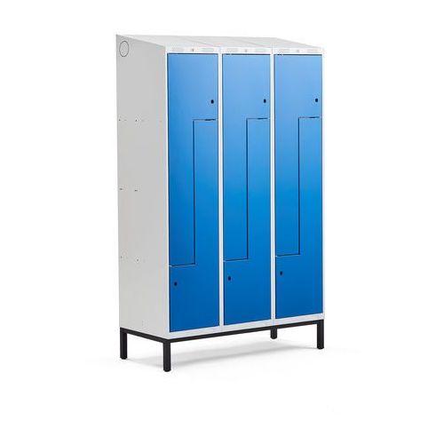 Szafki do przebieralni, Szafka ubraniowa typu Z, CLASSIC, na nóżkach, 3 moduły, 6 drzwi, 2100x1200x550 mm, niebieski