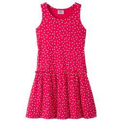 Sukienka shirtowa bonprix czerwono-biały wzorzysty