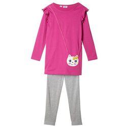 Sukienka shirtowa + legginsy (2 części) bonprix fuksja + jasnoszary melanż