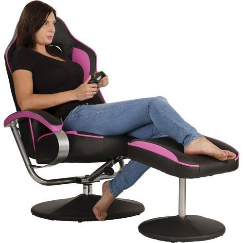Fotele dla graczy, CZARNO RÓŻOWY FOTEL WYPOCZYNKOWY OBROTOWY DLA GRACZA PRZED TV - Czarno - różowy 40040335 (-15%)