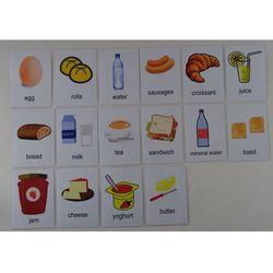 Śniadanie karty edukacyjne - wersja w j. angielskim
