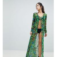 Stroje kąpielowe, PrettyLittleThing exclusive tropical maxi beach cover up - Multi