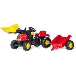 Rolly toys kid-x czerwony traktor na pedały z przyczepą i łyżką