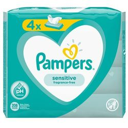 Chusteczki Pampers Sensitive 4x52- natychmiastowa wysyłka, ponad 4000 punktów odbioru!
