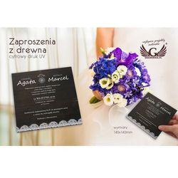 Zaproszenia ślubne z drewna - cyfrowy druk UV - ZAP018