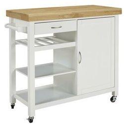 Barek kuchenny na kółkach SKYLER - 1 szafka z drzwiczkami i 1 szuflada - Kauczukowiec
