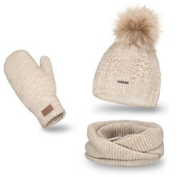 Komplet PaMaMi, czapka, komin i rękawiczki - Beżowy - Beżowy