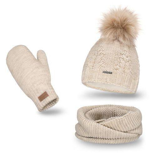 Nakrycia głowy i czapki, Komplet PaMaMi, czapka, komin i rękawiczki - Beżowy - Beżowy