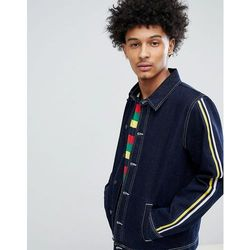 ASOS DESIGN Denim Coach Jacket With Sleeve Stripe In Blue - Blue