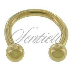 Stalowy (316L) kolczyk podkówka z kulkami - złota