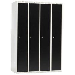Szafa ubraniowa CLASSIC, 4 moduły, 1740x1200x550 mm, czarny