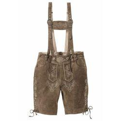Krótkie spodnie skórzane w ludowym stylu bonprix Krótkie spodnie skórzane oliw