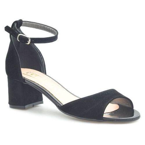 Sandały damskie, Sandały For-But 155 Czarne zamsz