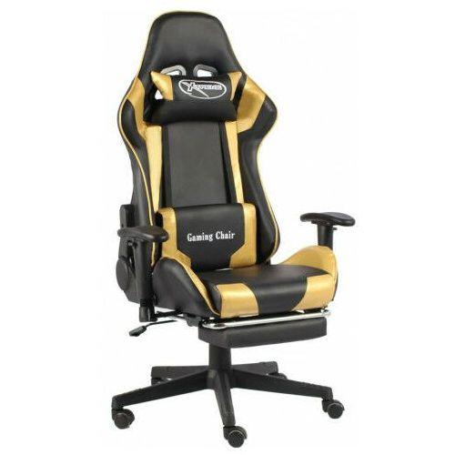 Fotele dla graczy, Czarno-złoty fotel tapicerowany z podnóżkiem - Divinity