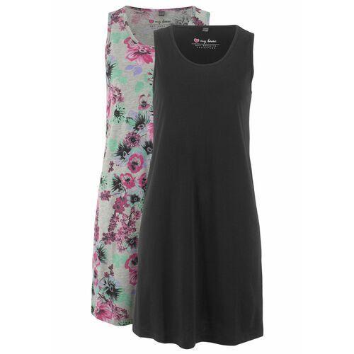 Suknie i sukienki, Sukienka z dżerseju (2 szt.) bonprix jasnoszary melanż w kwiaty + czarny