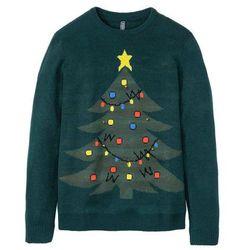 Sweter bożonarodzeniowy z dzwonkami bonprix głęboki zielony
