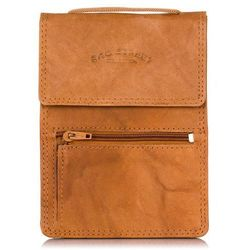Saszetka męska paszportówka na szyję jasny brąz (skóra) - jasnobrązowy