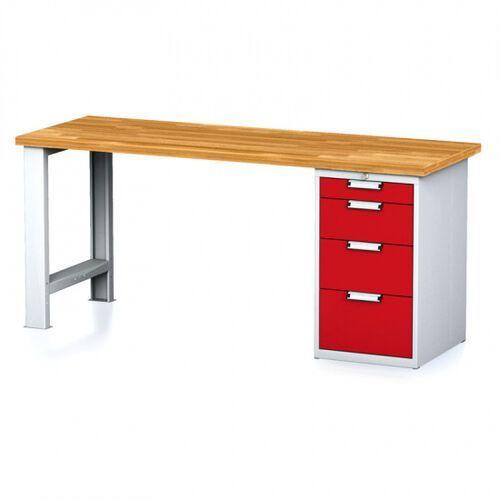 Stoły warsztatowe, Stół warsztatowy MECHANIC, 2000x700x880 mm, nogi regulowane, 1x szufladowy kontener, 4 szuflady, szary/czerwony