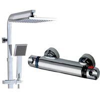 Zestawy prysznicowe, OWAL Bateria Natryskowa Prysznicowa Termostatyczna z Deszczownicą QUBUS