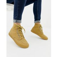 Damskie obuwie sportowe, Fred Perry Waxed Canvas High Top Trainer - Tan