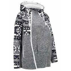 Bluza rozpinana ciążowa z polaru, z wstawką na nosidełko bonprix czarno-biel wełny z nadrukiem