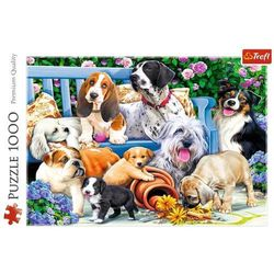 Puzzle 1000 Psy w ogrodzie TREFL