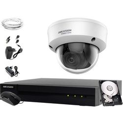 Tani zestaw do monitoringu obory, komórki, piwnicy Hikvision Hiwatch HWD-6104MH-G2, 1 x HWT-D340-VF, 1TB, Akcesoria