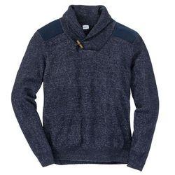 Sweter z szalowym kołnierzem Regular Fit bonprix ciemnoniebiesko-biel wełny melanż