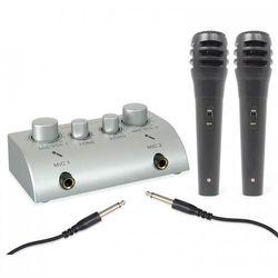 2-kanałowy minimikser karaoke z 2 mikrofonami