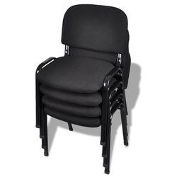 vidaXL Krzesło biurowe tapicerowane tkaniną 4 szt., sztaplowane, czarne Darmowa wysyłka i zwroty