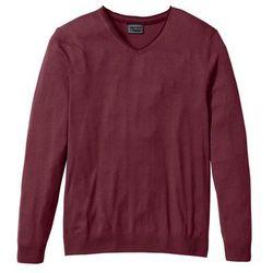 Sweter z kaszmirem i dekoltem w serek, Regular Fit bonprix czerwony klonowy