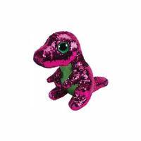 Pluszaki zwierzątka, Maskotka TY INC Beanie Boos Flippables Stompy - różowy zielony dinozaur z cekinami 28 cm