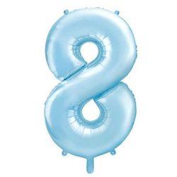 """Balon foliowy cyfra 8, 34"""", PartyDeco, niebieski jasny"""
