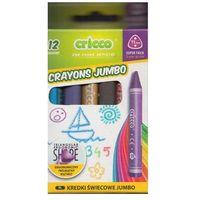Kredki, Kredki świecowe jumbo Cricco 12 kolorów. - CRICCO