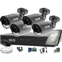 Zestawy monitoringowe, Monitoring BCS 4 kamery tubowe Full HD Zestaw rejestrator kamery dysk 1TB akcesoria BF