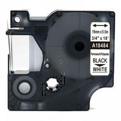 Taśma DYMO Rhino 18484 poliestrowa 19mm x 5.5m biała czarny nadruk - zamiennik