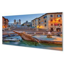 Panel Szklany Rzym Zachód słońca fontanna budynki