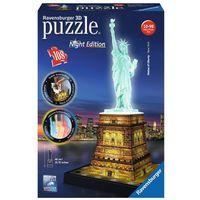 Puzzle, Ravensburger 3D Puzzle Statua Wolności Nocą RAP125968