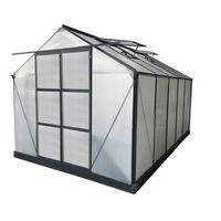 Szklarnie, Szklarnia ogrodowa z poliwęglanu o pow. 9 m² COROLLE II z podstawą - Antracytowa -