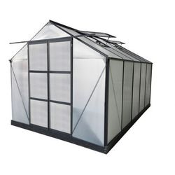 Szklarnia ogrodowa z poliwęglanu o pow. 9 m² COROLLE II z podstawą - Antracytowa -