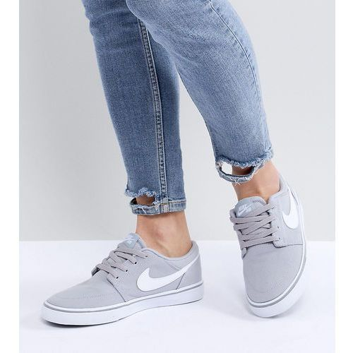 Damskie obuwie sportowe, Nike Sb Portmore Ii Solar Canvas Trainers In Grey - Grey