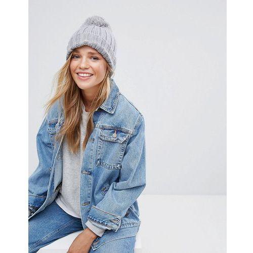 Nakrycia głowy i czapki, Brave Soul Grey Ribbed Hat with Knitted Pom Pom - Grey