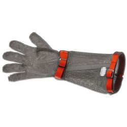 Rękawica metalowa z czerwonymi paskami, bardzo długa, rozmiar M | GIESSER, 9590 19