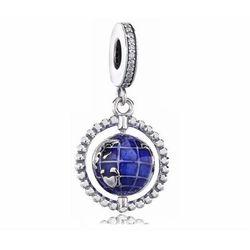 Rodowany srebrny wiszący charms do pandora kula ziemska globus cyrkonie srebro 925 BEAD259