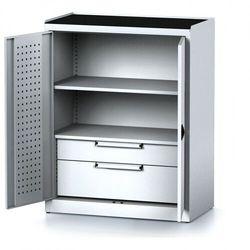 Szafa warsztatowa MECHANIC, 1170 x 920 x 500 mm, 1 półki, 2 szuflady, szare drzwi