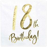 """Serwetki, Serwetki """"18th Birthday - złote urodziny"""", PartyDeco, białe, 33 cm, 20 szt"""